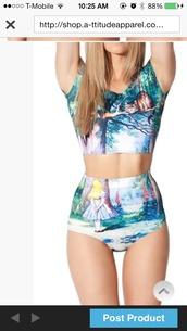swimwear,crop tops,alice in wonderland,suit,bikini,high waisted bikini