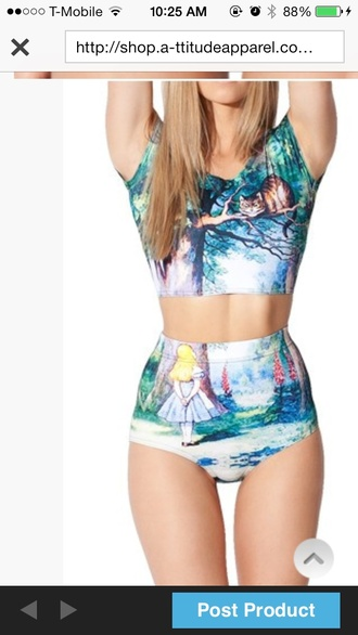 swimwear crop tops alice in wonderland suit bikini high waisted bikini