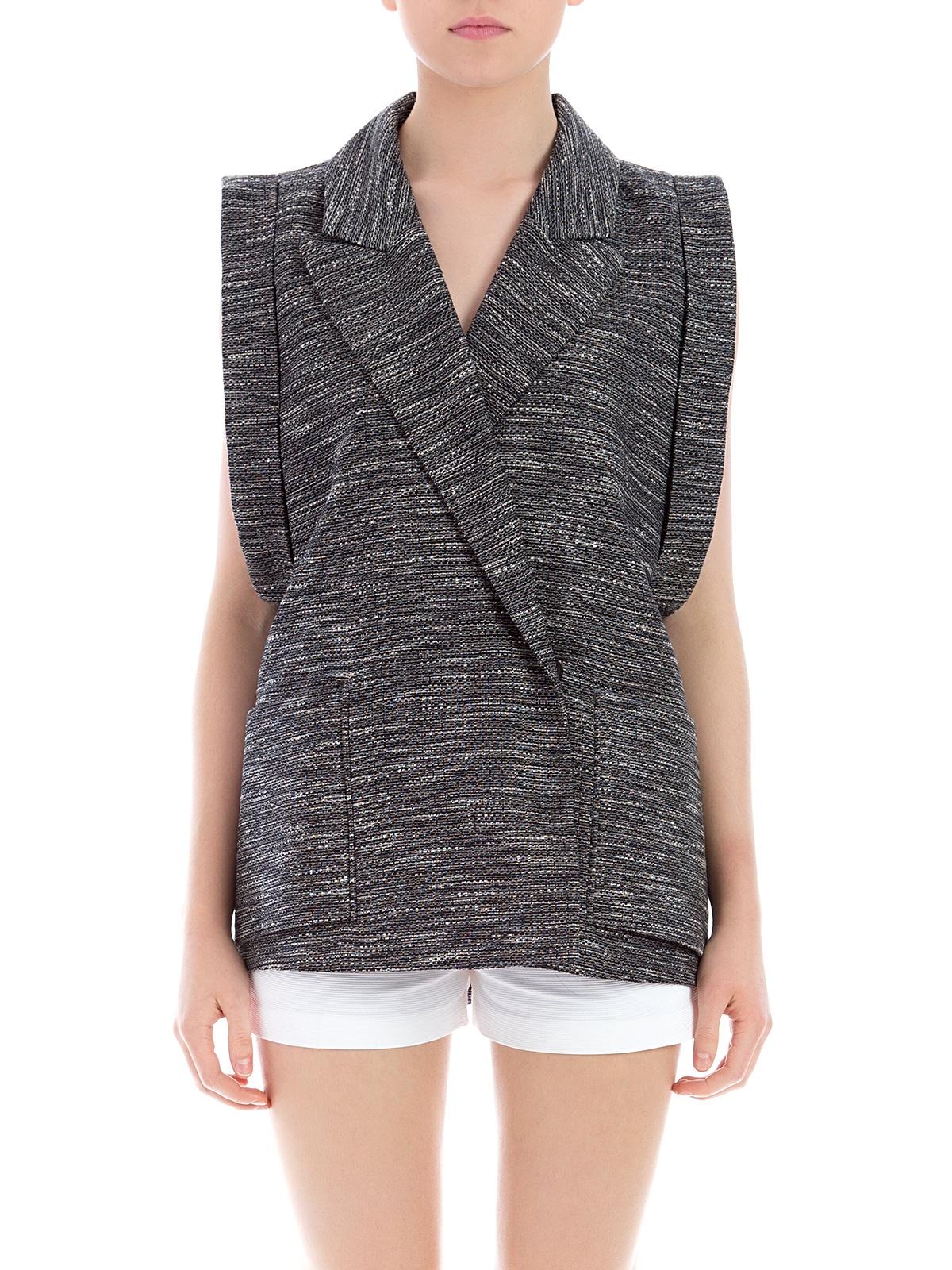 Carin Wester | Amalia Oversized Grey Tweed Vest | GIRISSIMA.COM