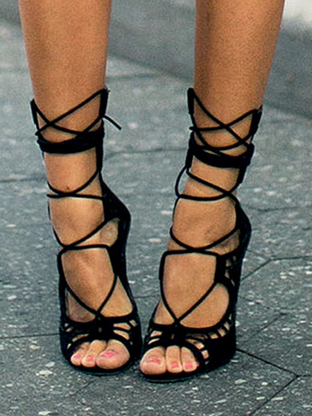 Black suede peep toe tie up sandals