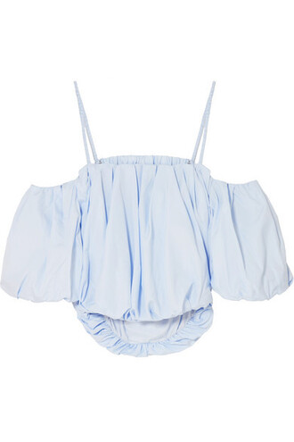 top cropped cold cotton blue sky blue