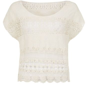 Cream Stripe Crochet T-Shirt