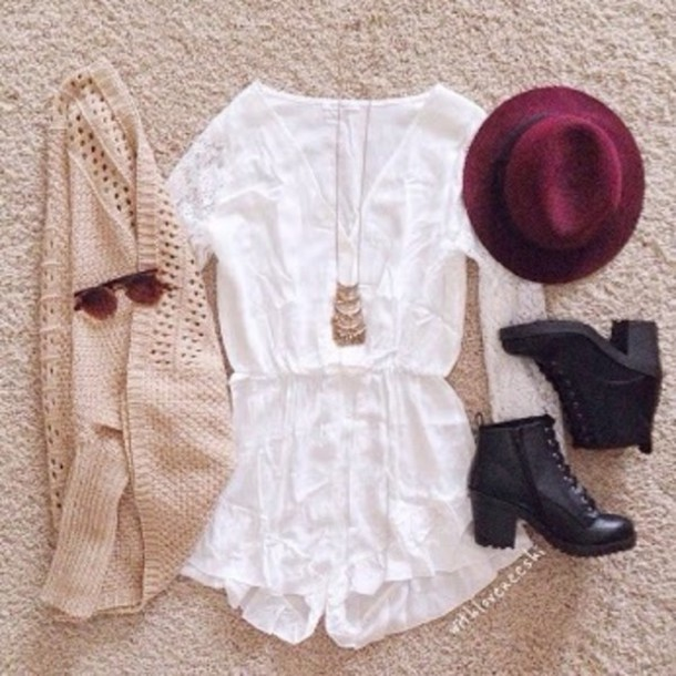 jumpsuit cardigan jewels hat shoes