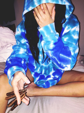 sweater blue tie dye sweatshirt hoodie pool wavy dark blue trap ashley all day