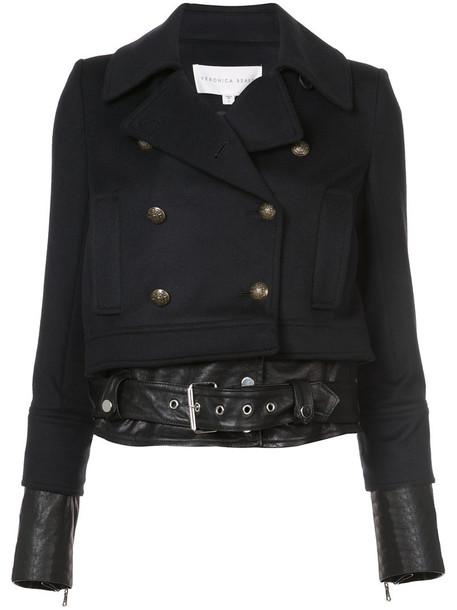 Veronica Beard jacket women leather black wool