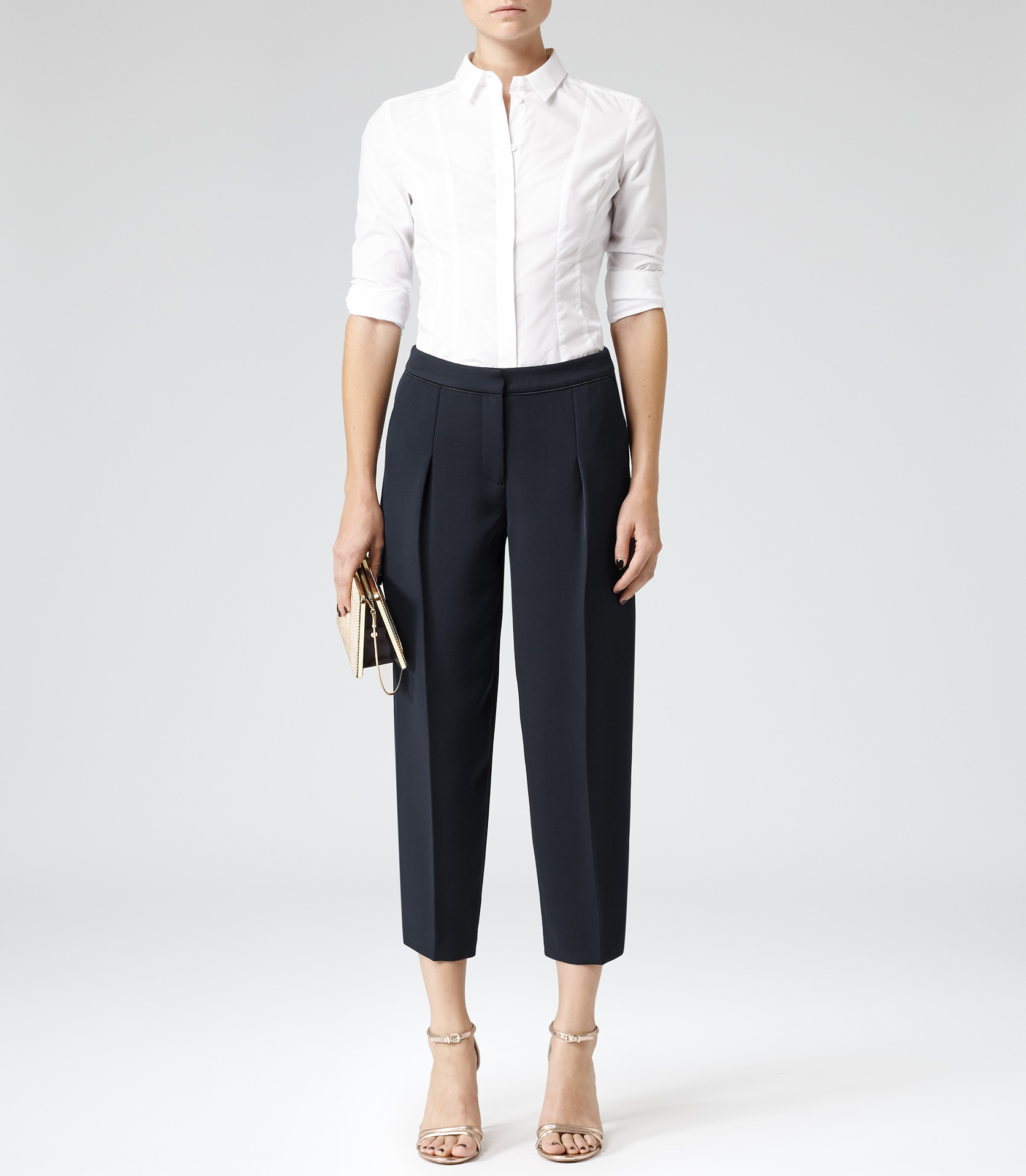 Gillian Lux Navy Pleated Cropped Trousers - REISS