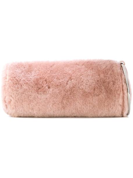 kara women bag leather wool purple pink