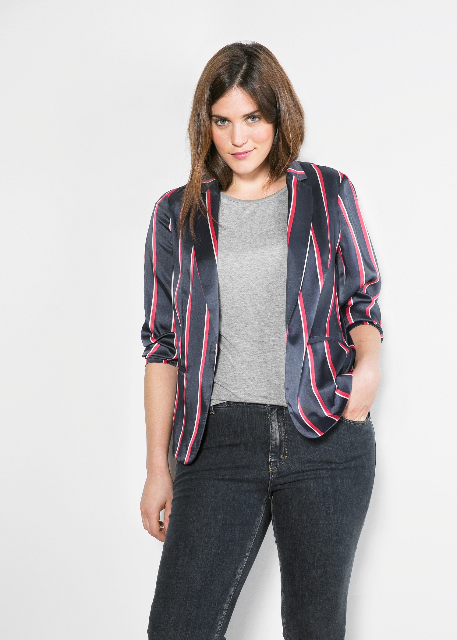 Striped twill blazer - Violeta | VIOLETA BY MANGO