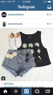 shirt,black tank too,daisy,shoes,white,shorts,tank top,daisy print,top,black,daisy lowe,flowered shorts,yellow,loveshirt,blue shorts,High waisted shorts,flowers