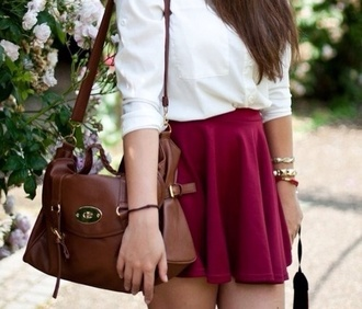 bag brown bag bag purses bags for back to school brown leather bag leather skirt red skirt pink shirts pink style skirt with suspenders skirts. high-low skirt