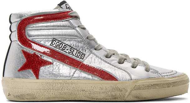 Golden goose glitter high sneakers silver red shoes
