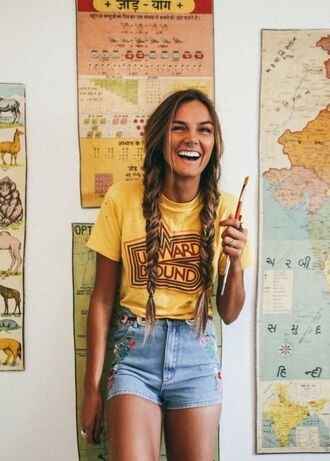 shirt yellow vintage upward bound hipster shorts denim shorts light blue flowered shorts top summer hot indie grunge outfit cool indie boho yellow t-shirt embroidered boho blue denim jean embroidered shorts blue shorts t-shirt summer outfits braid
