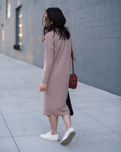 dress,tumblr,midi dress,knitwear,knitted dress,long dress,long sleeves,long sleeve dress,sneakers,white sneakers,low top sneakers,bag,brown bag,beige dress,midi knit dress,pastel dress,pink dress