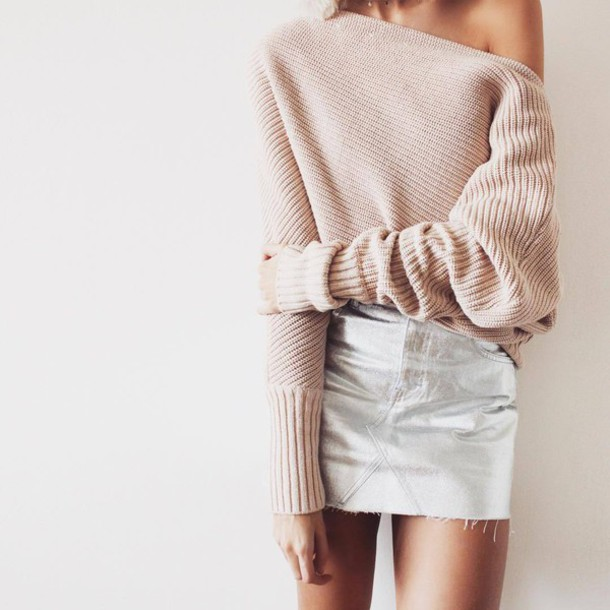 Sweater: tumblr, pink sweater, light pink, skirt, mini skirt ...