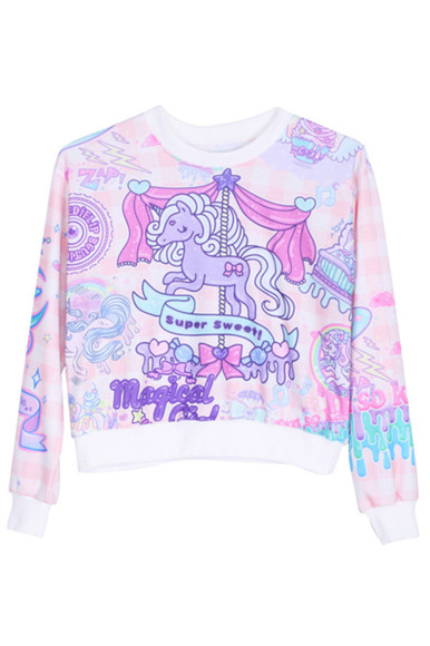 white cute sweater top purple blue kawaii pink pastel pastel pink light blue pastel purple unicorn unicorn, pink, cute unicorn shirt pretty horse