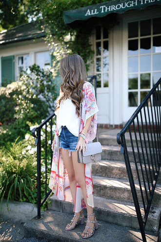 coat tumblr kimono denim denim shorts shorts top tank top white tank top sandals mid heel sandals bag grey bag shoes nordstrom topshop valentino