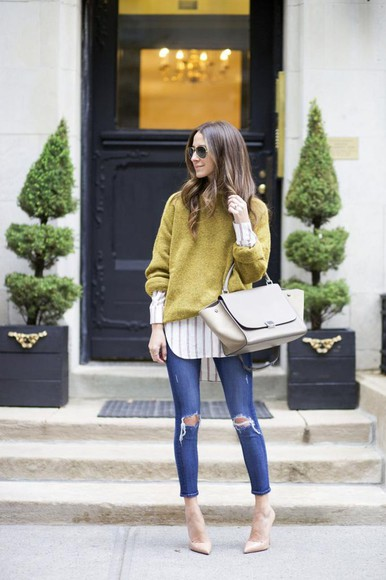 stripes blogger bag sunglasses ripped jeans jeans something navy mustard denim