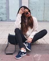 pants,tumblr,striped pants,stripes,sweater,white sweater,bag,black bag,sneakers,low top sneakers,blue sneakers,adidas,adidas shoes