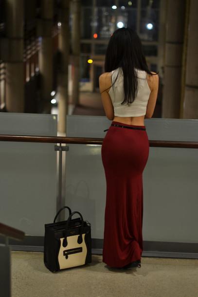 skirt clothes dress girl women cute summer maxi skirt burgundy red long skirt bodycon belt red skirt fitted maxi skirt maxi long maxi red skirt red skirt shirt burgundy skirt crop top long skirt tan crop tops crop summer outfits hippie hippie chic hipster grunge sexy sleeveless