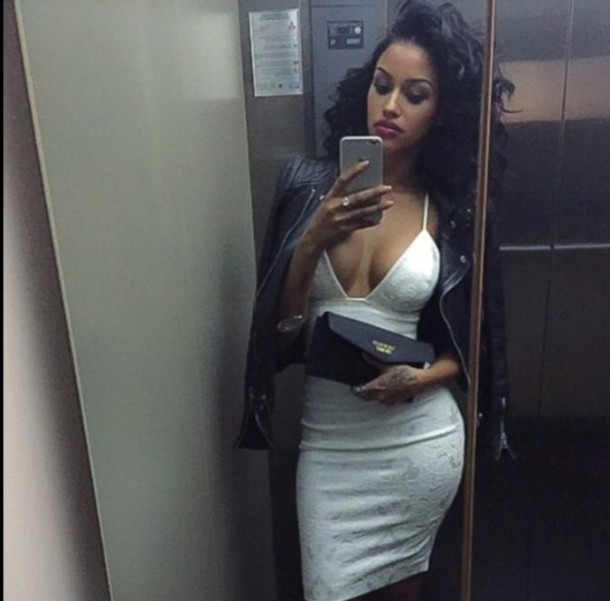 dress white dress make-up mixed girl curly hair curly hair curly hair midi dress décolleté clutch iphone case perfecto leather jacket perfecto