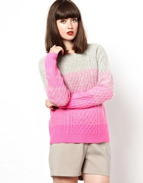 Boutique by Jaeger | Boutique by Jaeger Knitted Cable Sweater in Ombre at ASOS