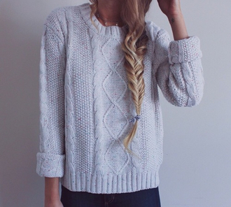 sweater cream knit thick wool cuffed grunge