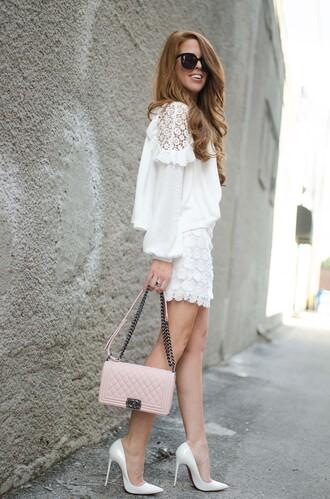 skirt mini skirt blouse clutch pumps lace mini skirt blogger blogger style broderie-anglaise