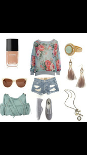 jewels,floral sweater,ripped shorts,blue ring,nude nail polish,sunglasses,teal bag,earrings,necklace,feathers