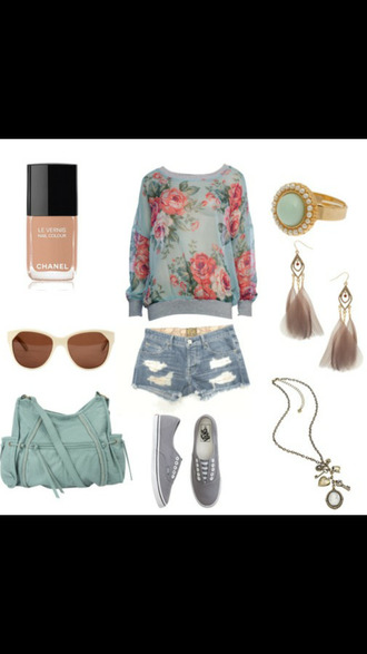 jewels floral sweater ripped shorts blue ring nude nail polish sunglasses teal bag earrings necklace feathers