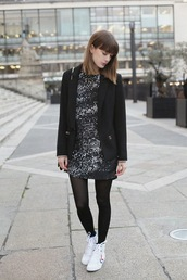 into your closet,blogger,blazer,black and white dress,high top sneakers,jacket,dress,bag,shoes