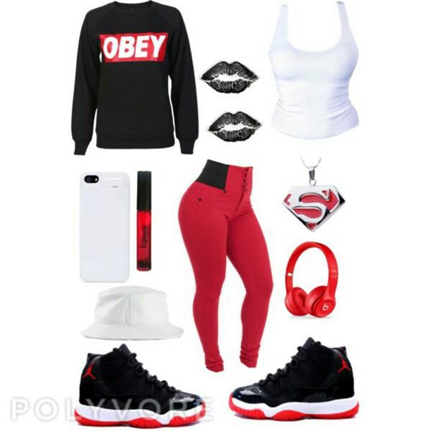 shoes jordans obey sweatshirt superman necklace iphone case pants jewels