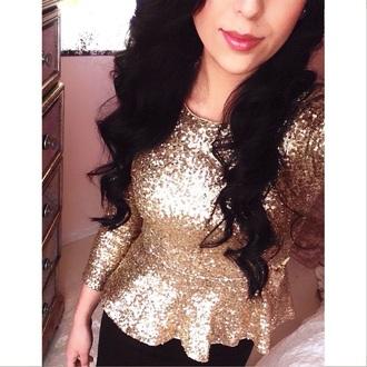 blouse style peplum peplum top gold sequins gold gold shirt glitter new year's eve
