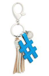 bag,bag charm,charm,tassel,blue,bag accessoires,hashtag,keychain