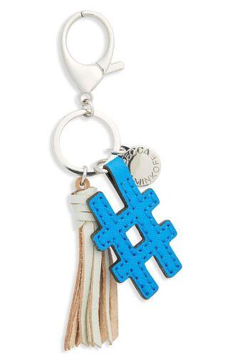 bag bag charm charm tassel blue bag accessoires hashtag keychain