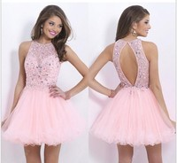 Hot sale 2014 high neck pink homecoming dresses beading short prom gown party dress