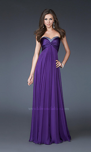 Strapless chiffon prom dresses, la femme prom gowns