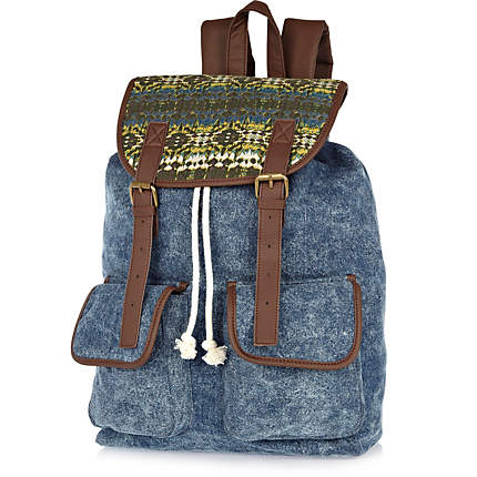 Blue denim print panel backpack
