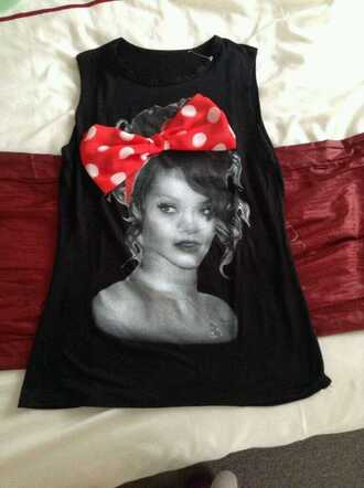 shirt t-shirt rihanna black cute outfits bows crop tops tank top