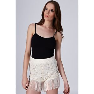 TOPSHOP Fringe Lace Shorts by Coco's Fortune UK 8 in Cream New with Tags | eBay