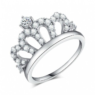 jewels crown ring sterling silver crown ring 18k white gold plated 925 sterling silver crown ring with 3a cubic zirconia cubic zirconium crown ring evolees.com
