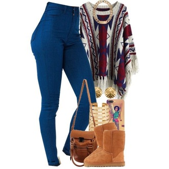 jeans denim pants tribal sweater ugg boots gold chain necklace high waisted jeans dark blue jeans blouse