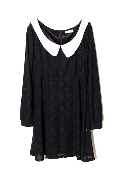Preppy style lace black shift dress [ncskl0007]