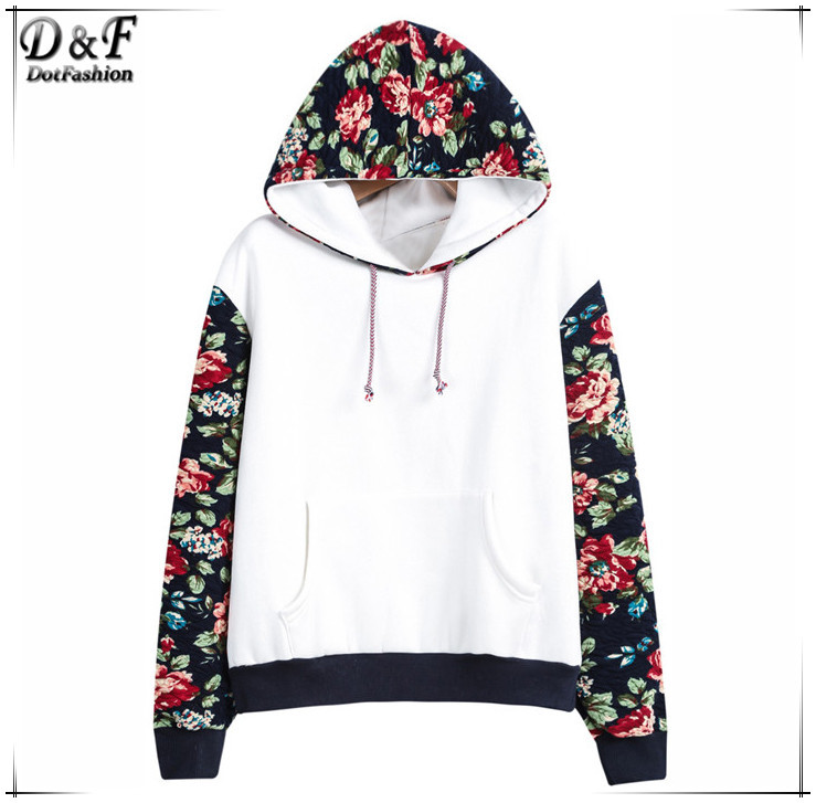 Fashion Brand Printed Pullovers 2015 Womens Casual New Spring White Hooded  Contrast Floral Loose Cotton Sweatshirt ... 1fbe7af87
