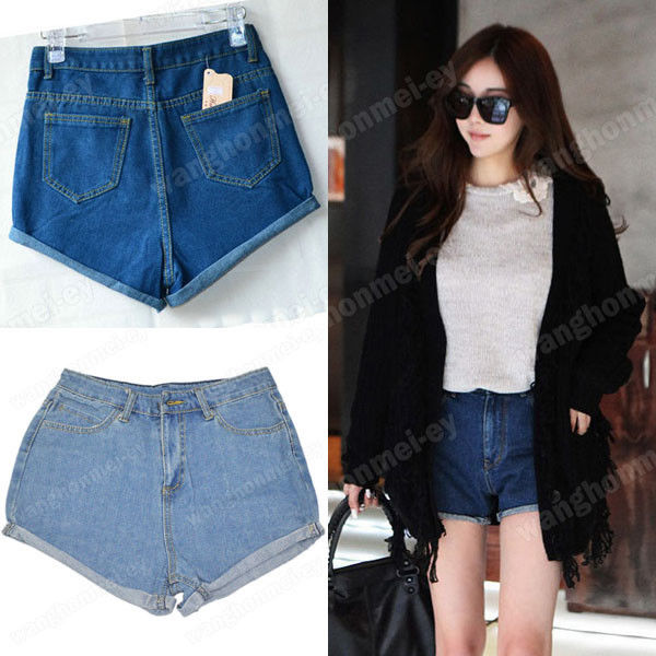 Womens Hot Retro Lady's Girls Denim High Waist Flange Blue Jean Shorts Hot Pants | eBay