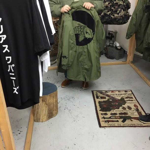 jacket koi fish japanese army green jacket coat paris green jacket olive green guys fish koi japan cardigan