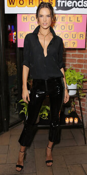 pants,shirt,all black everything,alessandra ambrosio,model off-duty,fall outfits,pvc
