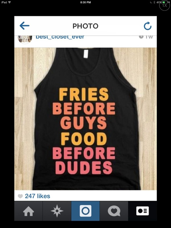 t-shirt fries before guys black pink orange