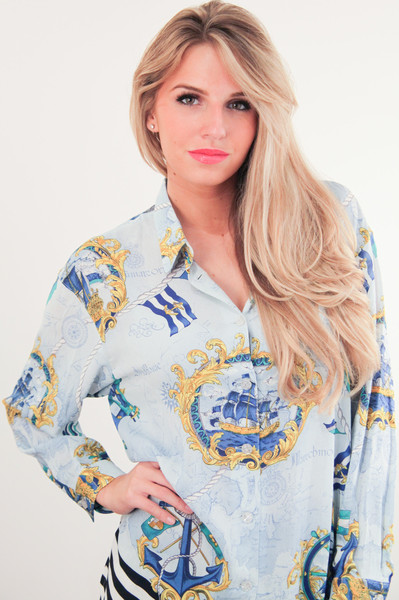 Sky Blue Boat & Chains Printed Blouse – Glamzelle