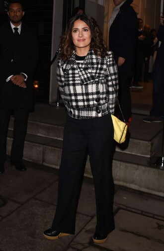 jacket salma hayek pants shoes bag
