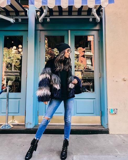 jacket fur jacket faux fur jacket fringes sweater black sweater knit knitwear knitted sweater beanie denim jeans sweater weather